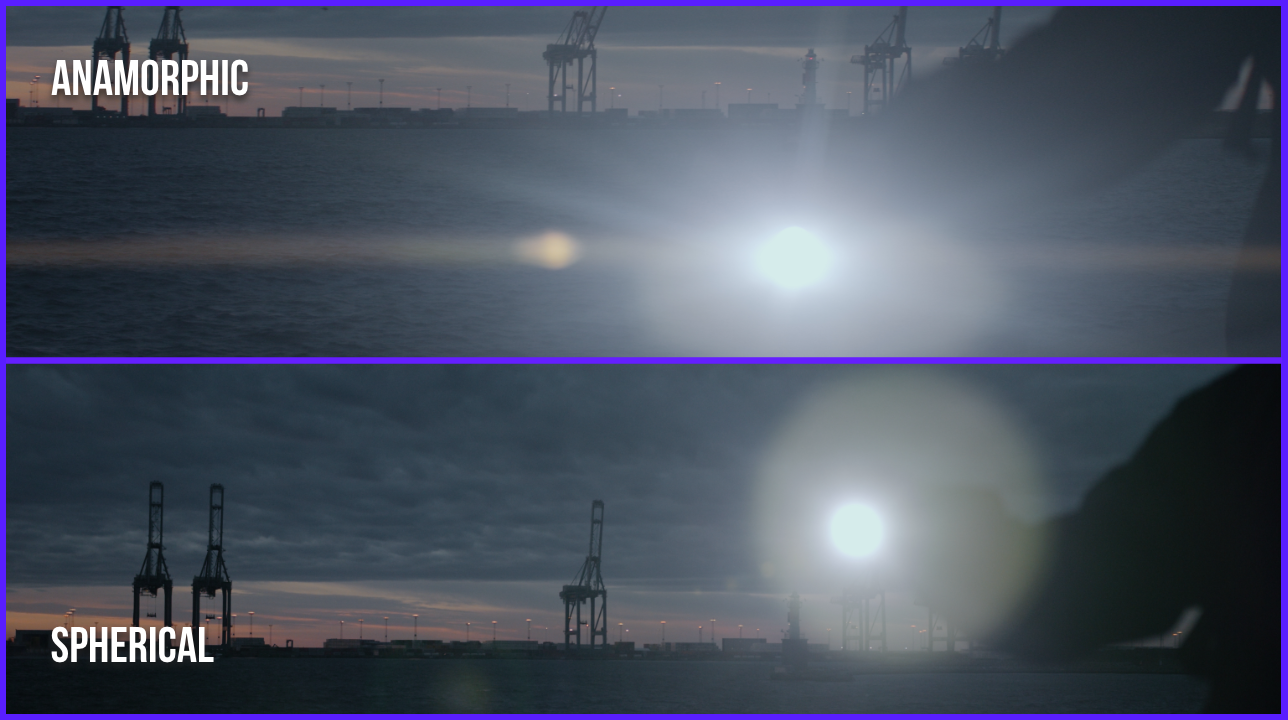 flares and lights comparison of the spherical and anamorphic footage in the night city of Aarhus Denmark