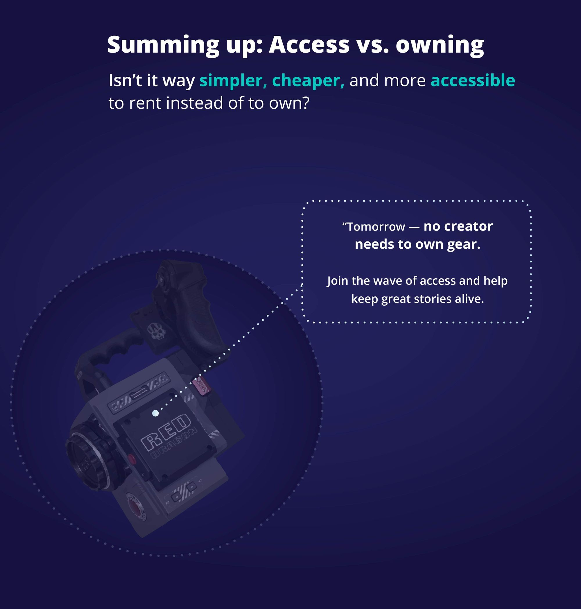 Summing up access vs owning: Tomorrow no filmmaker or creator will own a camera.