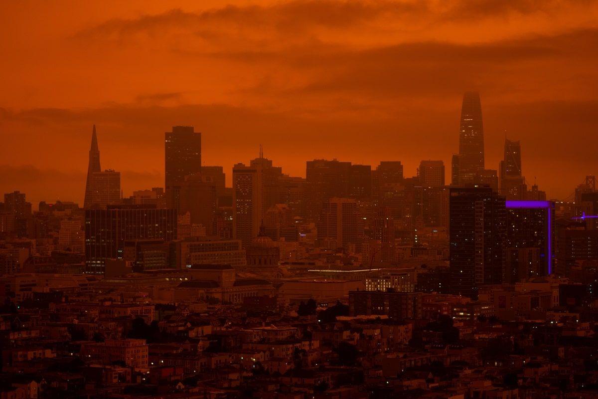 blade runner orange tinted city