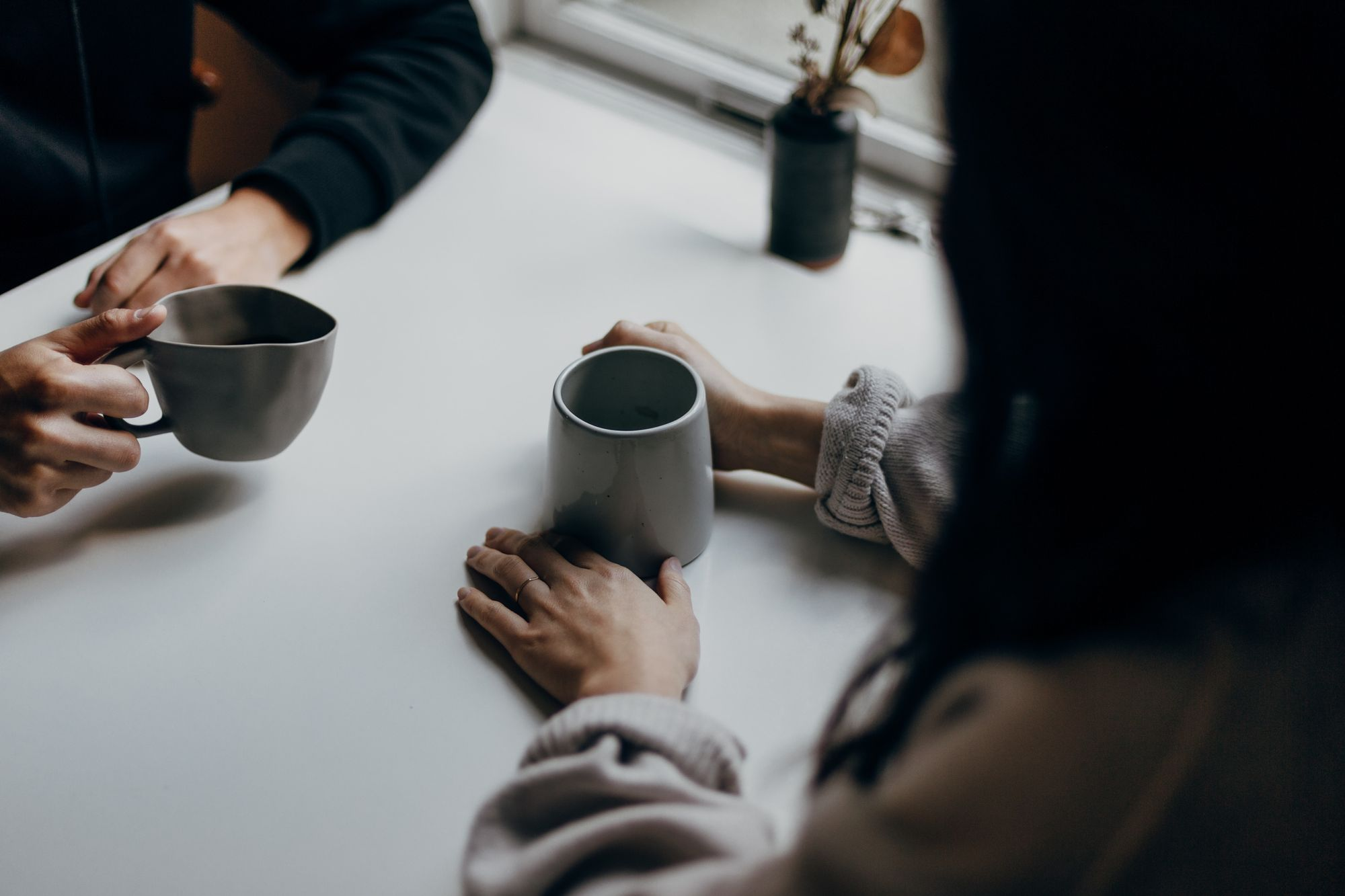 meeting your interviewee with cup of coffee
