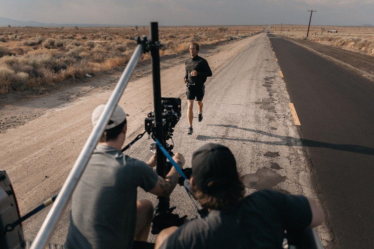 filming a man running