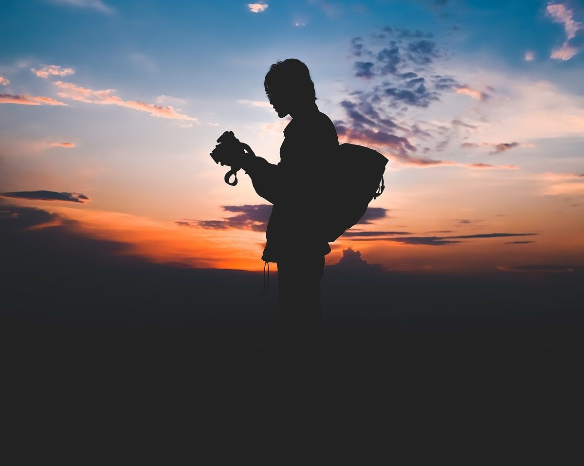 silhouette of person outside